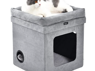 AmazonBasics Collapsible Cat House with Bed