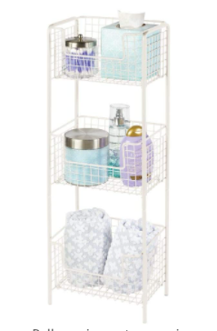 Mdesign Vertical Standing Bathroom Shelving Unit Tower With 3 Baskets  Cream