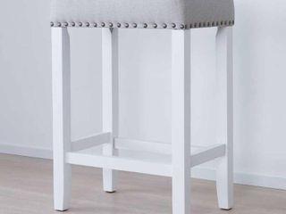 Hylie Wood Kitchen Counter Stool  24  Gray Upholstered Fabric Cushion  White Finish