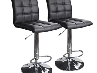Set Of 2 Modern Square Pu leather Adjustable Bar Stools With Back  C0201001