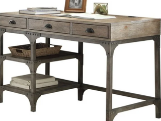 Wood And Metal Desk With Three Drawers And Two Side Shelves  Oak Brown Retail 849 99