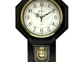 Timekeeper Essex Westminster Chime Pendulum Wall Clock 17 5  X 11 25  Black