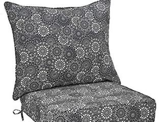 Amazon Basics Deep Seat Patio Cushion Black Floral