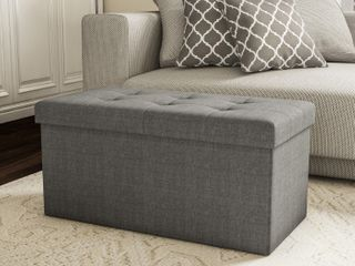 lavish Home large Folding Storage Bench Ottoman Bench  Grey