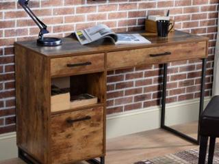 Broken Wood Slat - Rustic Wood finish Computer Desk with Metal legs Retail:$198.49