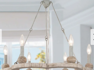 Modern   Contemporary Candle Chandelier lighting Antique Wood Wagon Wheel Pendant   l 23 6  x W 23 6  x H 22 8  Retail 378 99