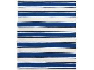 Handmade Indo lucky Bright White and Turkish Sea Blue Stripe Rug  India    4  x 6  Retail 99 00