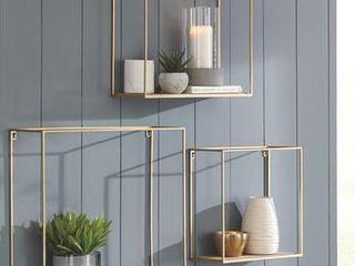 Signature Design by Ashley Efharis Natural Gold Finish Wall Shelf   Set of 3  Retail 116 49