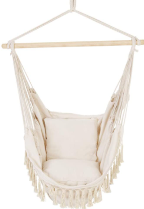 BHome Hanging Seat Hammock With 2 Pillows