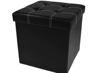 Tufted Black 15  Storage Ottoman BPP OT 15B Bl