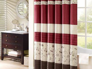 Madison Park Belle Faux Silk Embroidered Floral Shower Curtain