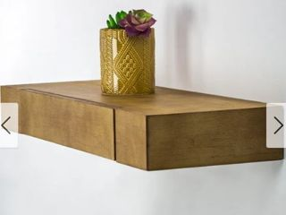Floating Wall Shelf with Drawer   Brown   24  x 9