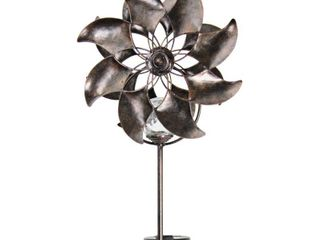 Bronze Double Windmill Solar Spinner Stake   9 0  x 6 0  x 47 0