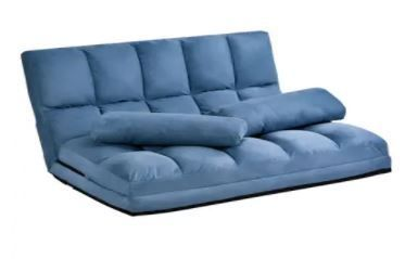 Merax Blue Small 5 position Adjustable Folding Floor loveseat with 2 Pillows  Retail 328 99