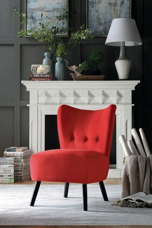 Topline Home Furnishings Red Velvet Accent Chair Red