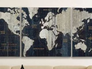 Old World Map Blue  3 Piece Graphic Art Print Set on Wrapped Canvas  Retail 127 49
