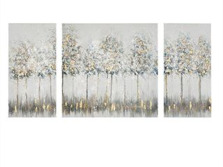 Madison Park Blue Midst Forest Printed Canvas with Gold Foil 3 Piece Set  Retail 112 99