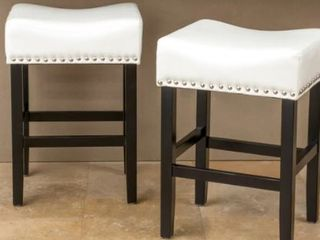 Pair of laramie 26  White leather Backless Stools
