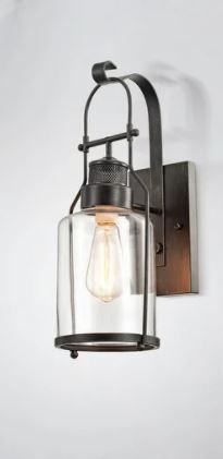 Belinda Antique Black Finish Rustic Wall Sconce lantern with Clear Glass Shade Retail 99 99 Same as  40122