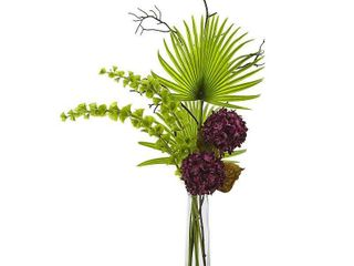 Hydrangea  Bells Of Ireland and Palm Frond Arrangement in Clear Vase Retail 79 98
