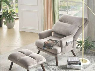 OVIOS Recliner Chair with Ottoman Velvet wingback Chair Mid Century Reading Chair for living Room Adjustable Accent Chair Sleeper lounge Office  Grey