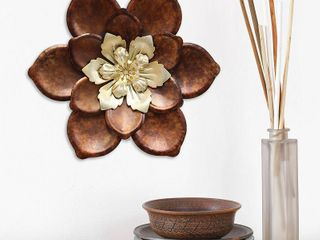Stratton Home Decor Whimsical Bronze Flower Metal Wall Decor