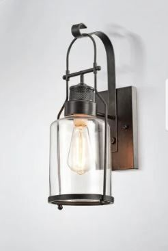 Belinda Antique Black Finish Rustic Wall Sconce lantern with Clear Glass Shade  Retail 99 99 Same as  40664