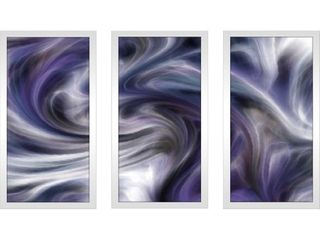 Purple Wave Framed Acrylic Wall Art Set of 3  Retail 153 99