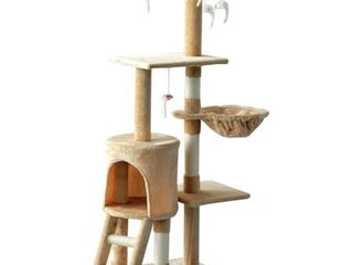 PawHut 52  Plush Sturdy Interactive Cat Condo Tower Scratching Post Activity Tree House   Beige