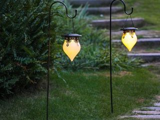 Salem Set of 2 Classical Hanging Solar lanterns  Shepherd Hooks NOT Inlcuded  by Havenside Home