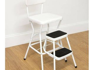 Cosco Retro Counter Chair Step Stool with Pull Out Steps White