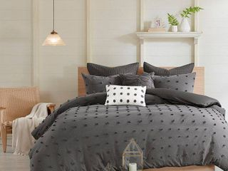 Kay Full Queen 7pc Cotton Jacquard Duvet Cover Set Charcoal