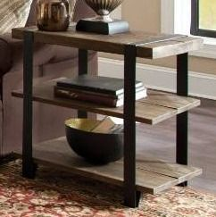 Carbon loft Kenyon Reclaimed Wood with Metal Straps 3 shelf End Table  Retail 212 99