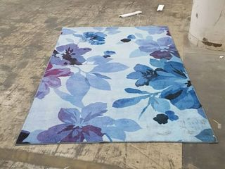Blue and Purple Flower Area Rug