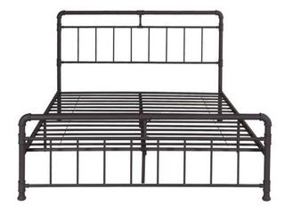 Mowry Queen Size Iron Bed Frame  Minimal  Industrial Hammered Copper