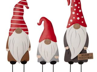 Glitzhome 36 H Set of 3 Christmas Gnome Metal Wall Decor or Yard Stake