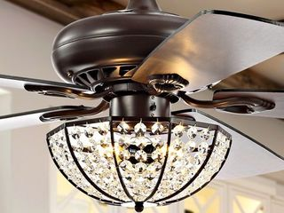 Joanna 52  3 light Crystal lED Ceiling Fan With Remote  by JONATHAN Y  Retail 254 99