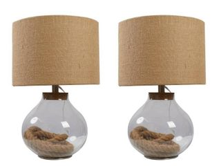 McKee Glass and Rope Table lamp   Set of 2  Retail 83 58