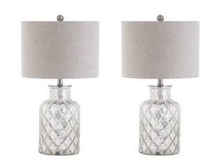 24 5  Alvord lED Glass Table lamp Set Of 2 Silver  Includes Energy Efficient light Bulb    JONATHAN Y