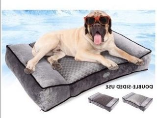 Pecute large Dog Bed  Warm Plush   Cool Silk Double Sided Pet Bed