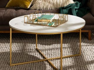 Modern Round White Faux Marble Coffee Table with Gold Base