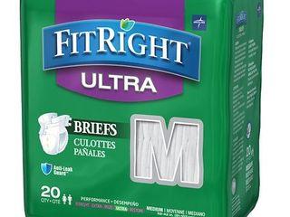 3 packs   Medline FitRight Ultra Disposable Briefs  Medium 20 Count