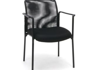 OFM Essentials Collection Mesh Back Upholstered Side Chair with Arms  in Black  ESS 8010