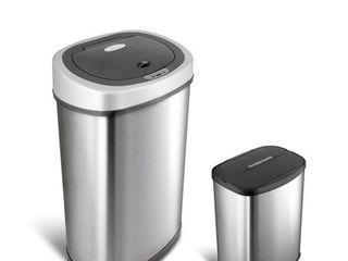 Nine Stars 13 2 Gal   50l   2 1 Gal   8l Motion Sensor Trash Can Combo  Fingerprint Resistant Stainless Steel