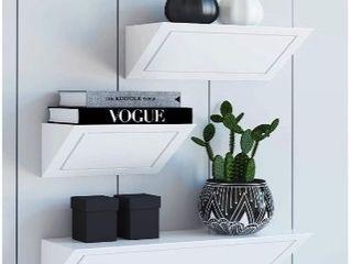 Set of 3 Modern White Floating Shelves