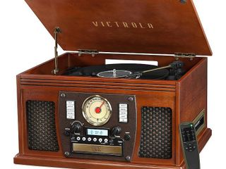 Vinyl Turntable Victrola   Mahogany   Retails  150
