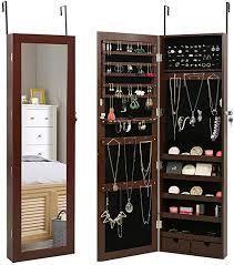 Marble Field Mirrored Jewelry Cabinet lockable Wall Door Mounted Jewelry Armoire