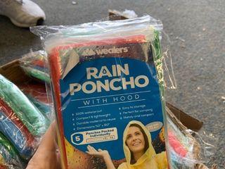 100 total rain ponchos  in packs of 5
