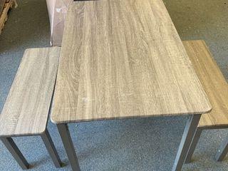 Metal legged table and 2 bench set