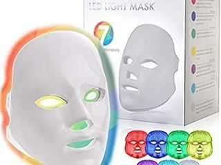 YOOVE lED Face Mask   7 Colors Including Red light Therapy For Healthy Skin Rejuvenation   Home light Therapy Facial Care Mask